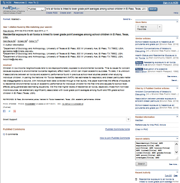 ricerca-texas-inquinamento psiche zinzi-rendimento-scolastico-zinzi